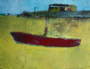 'Red Boat' Achill by Cormac O'Leary at the Chimera Gallery , Mullingar, Co Westmeath, Ireland