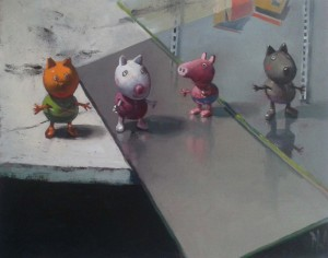 """Peppa pig figures"" by Dave West at the Chimera Gallery, Mullingar, Co Westmeath, Ireland."