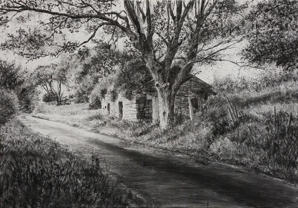 """Shadow Road"" by Michael Wann at the Chimera gallery, Mullingar, Co Westmeath , Ireland."