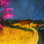 """ Pink tree and yellow"" by Glenn Brady at the Chimera Gallery, Mullingar, Co Westmeath, Ireland"