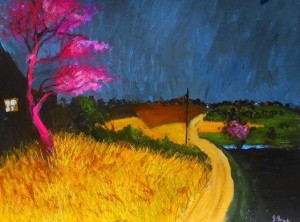 """ Pink tree and yellow"" by Glenn Brady at the Chimera Gallery, Mullingar, Co Westmeath, Ireland"