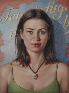 """Girl with the skull necklace."" by Stuart Luke Gatherer at the Chimera Gallery, Mullingar, Co Westmeath, Ireland"