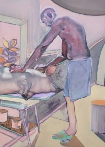 'Man and his Pig' by Shane Berkery at the Chimera Gallery, Mullingar, Co Westmeath, Ireland