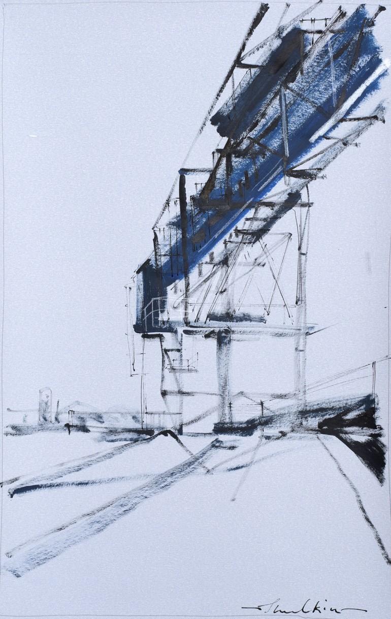 'Maritime Crane III' by Helen Shulkin at the Chimera Gallery, Mullingar, Co Westmeath, Ireland.