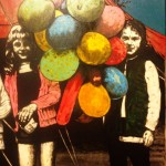 'Fairground Balloons' by Lorcan Vallely at the Chimera gallery, Mullingar, Co Westmeath, Ireland.