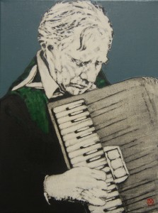 'On the Accordion' by Lorcan Vallely at the Chimera gallery, Mullingar, Co Westmeath, Ireland.