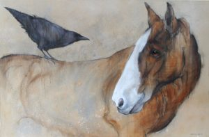 'Horse and Raven' by Sylvia Parkinson Brown at the Chimera Gallery, Mullingar, Co Westmeath, Ireland.