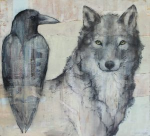 'Wolf and Raven' by Sylvia Parkinson Brown by Sylvia Parkinson Brown at the Chimera Gallery, Mullingar, Co Westmeath, Ireland.
