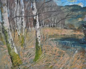 'Birches at Coppal Co Kerry by Neal Greig at the Chimera Gallery , Mullingar, Co Westmeath, Ireland.