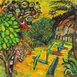 'Lorikeets in the Umbrella tree' by Glenn Brady at the Chimera Gallery, Mullingar , Co Westmeath, Ireland.