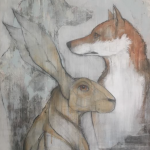 'Hare and Foxes (ii) by Sylvia Parkinson Brown at the Chimera gallery, Mullingar, Co Westmeath, Ireland