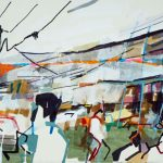 'Delhi Streetscape' by Colin Taylor at the Chimera Gallery, Mullingar, Co Westmeath, Ireland.