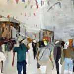 'Galway Crowd Scape'' by Colin Taylor at the Chimera Gallery, Mullingar, Co Westmeath, Ireland.