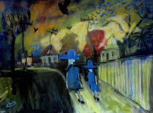 'Walking to School' Oil on Pastel Board 100x80cm €950