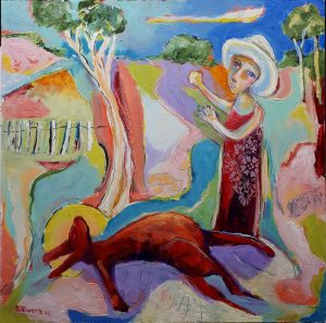 ' The Drovers Wife' Oil on Board, 45x45 cm €600