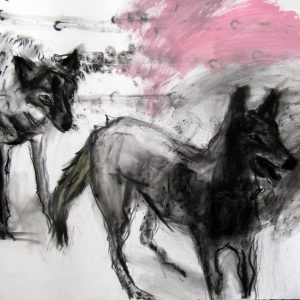 'Two Wolves' 70X100cm Charcoal Acrylic on Paper €1000