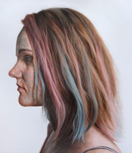 'Woman with Multi-coloured Hair' Oil on Canvas 65x75cm €2800