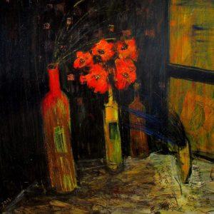 'Red Bottle Flowers' Oil on Paste Board 100x80cm €950