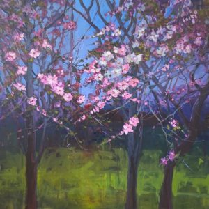 """"""" Triptych of Blossoms"""" 100x100 cm, Oil on Canvas, €2800"""