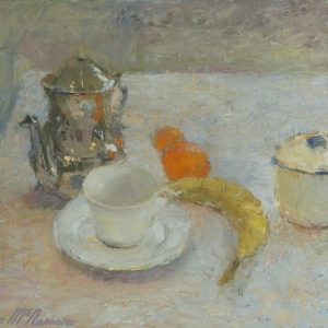' Still life with Blue Rim' Oil on Canvas 45x37cm €1400