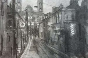 'Cathedral View, Mullingar' Charcoal on Paper 50x40 cm €500