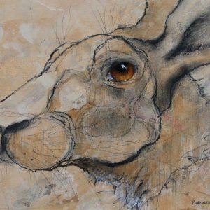 'Hare on Gold' by Sylvia Parkinson Brown 25x20cm €380