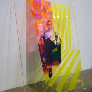 'Impression' Mixed Media on plexiglass Glass 70x102 cm €2800