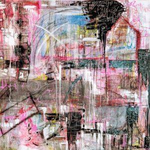 'Safehouse' 108x108 cm Mixed Media on canvas €3200